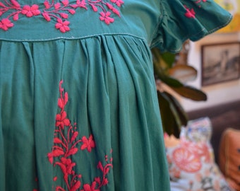 REDUCED: Vintage 1970s Mexican teal green cotton embroidered sun dress S small hippie ethnic boho festival