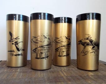 Set of Four Vintage NFC Gold Insulated Plastic Wildlife Timblers