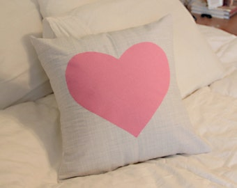 Gray and Pink Heart Pillow Cover