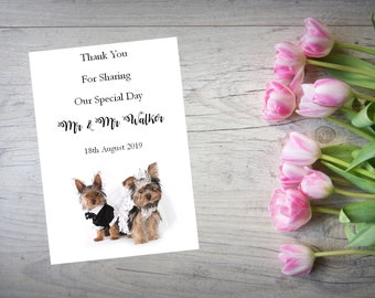 Personalised Wedding Thank You Cards with Matching Envelopes Pack Of 10 TY119
