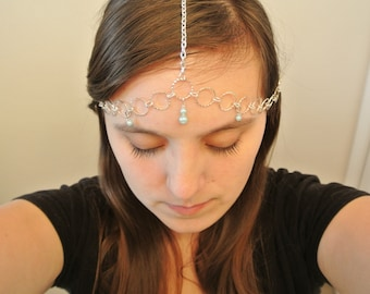 Water Sprite Inspired Headpiece- Silver Circle Chain