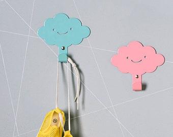 Two Cute Smily Clouds Children's Wall Hooks / Rainy Nursery Wall hangers / Kid's Towel Racks / Kids Room hooks / Nursery Wall Decor