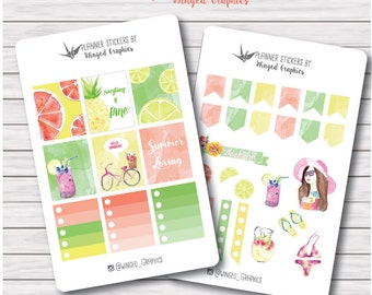 Sunny, colorful, summer beach themed  stickes for Erin condren vertical spread planners or MAMBI happy planner (pick variation): 2 pages