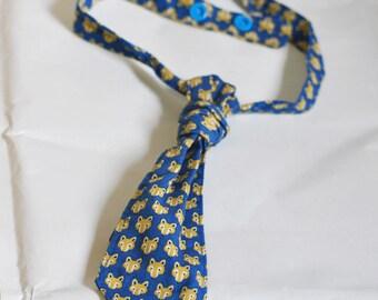 Cravate enfant, garçon, bébé,en coton bleu avec petites têtes de renard, Originale et Chic !