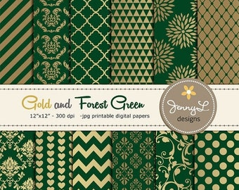 50% OFF Gold and Forrest Green Digital Papers, Wedding Birthday Digital Scrapbooking papers, Green Damask Digital Paper, Dahlia Digital Pape