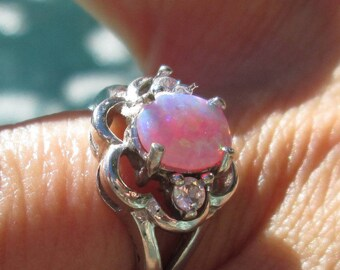 Pink Opal, Crystal and Sterling Ring Size 7