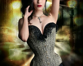 PUIMOND PY11 Long Overbust Chinese Silk Brocade Tightlacing Corset Size 21 NEW In-stock