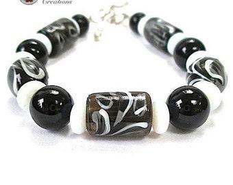 Black & White Boho Bracelet, Chunky Lampwork, Gemstones, Sterling Silver Toggle Clasp, Stacking Bracelet, Sophisticated Gift for Women B243