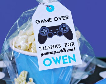 Video Game Favor Tag with Black Controller - Printable Video Game Party Favor Tags by Printable Studio