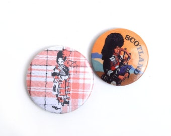 Scotland, scotticsh, Scottish souvenir, scottich pinback button, british, piper, pinback button set,travel pins, travel souvenir, pinbuttons