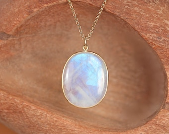 Large rainbow moonstone necklace - crystal necklace - june birthstone - a gold bezel rainbow moonstone on a 14k gold filled chain