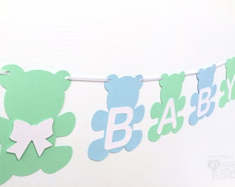 Teddy Bear BABY Banner Blue and Mint Green. Baby Shower Banner with text. First birthday party, bunting, Photo prop. Pastel blue white mint.