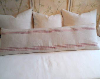 FRENCH LAUNDRY 16x54 super long  Pillow Cover  in RED Stripes