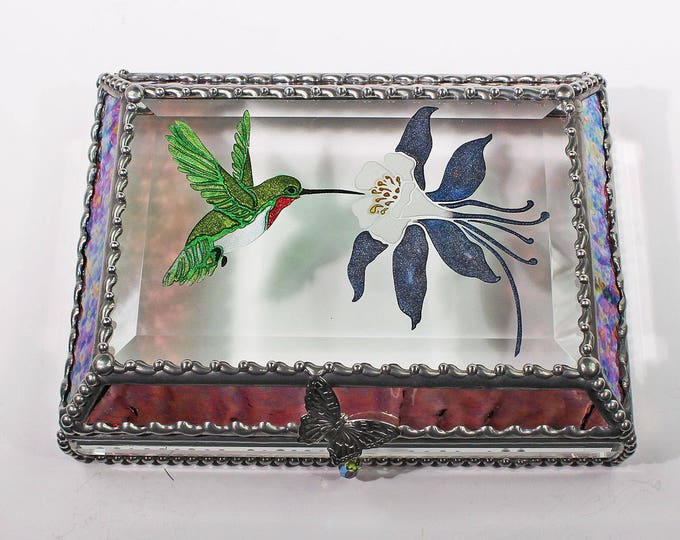 Etched Hand Painted Ruby Throated Hummingbird and Columbine Treasure Box -Treasure Box