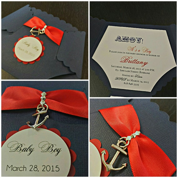 Nautical Baby Shower Invitation Diaper Invitation Custom