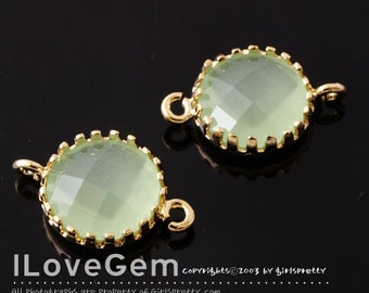 P107 Gold plated, Lt. Apple Green, 9mm Disc, Glass connector, 2pcs