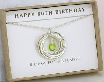 80th birthday gift, August birthstone necklace 80th, peridot necklace for 80th birthday, gift for grandmother, mom - Lilia