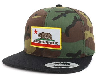 California State Flag Patch Camo Black Flatbill Snapback Baseball Cap (FLEX-6089TC-FPA505)