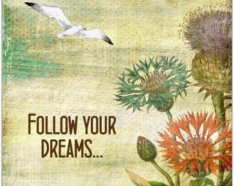 Dreams original greeting card - handmade 15cm x 15cm
