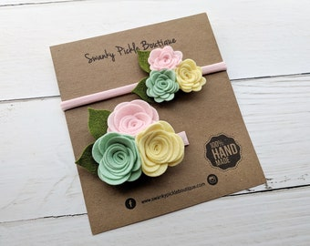 Felt Rose Headband,Sister Set,Mommy and Me,Rose Headband Set,Mint Pink Yellow,Easter Headband,Newborn Headband,Baby Headband,Rose Hair Clip