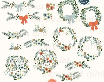 Christmas Digital Clip Art Flowers and Wreaths- 21 Hand Drawn Illustrations- Commercial Use