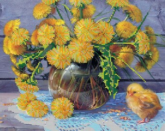 Bead embroidery kit Dandelions needlework beadwork beaded painting DIY beading craft set room wall decor