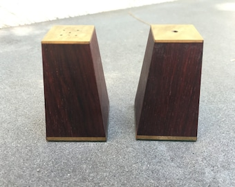 Mid Century Salt and Pepper Shaker Set Rosewood Brass