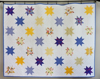 Handmade quilt for sale, twin quilt, Star quilt, patchwork quilt