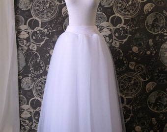 White Tulle Skirt - Adult full Length Tutu, Wedding Skirt, with Lycra waist, Perfect with Corsets - Crinoline or Petticoat - Made to Order