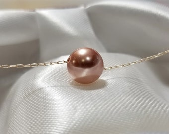 Rose Gold Swarovski Crystal Pearl and Gold Fill Necklace - Wedding Gift, Bridesmaid Gift, Single, Layered, FloatingPearl Necklace