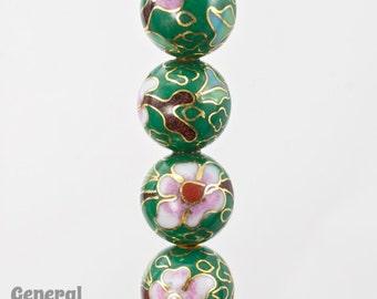 12mm Green Cloisonné Bead (2 Pcs)  #3825