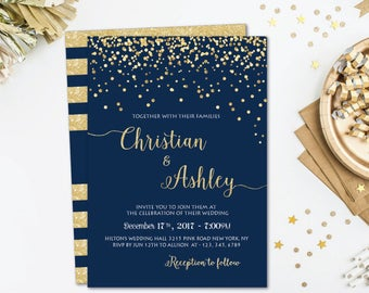 Wedding invitation printable, Wedding invitation template, Wedding invitation set, Gold Wedding Invitation Suite, Navy wedding invitations