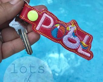 Pool Keychain, Embroidered, Keyfob, Handmade
