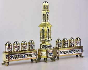 Handmade Silver Judaica Menorah Hannukiah, Made in Israel