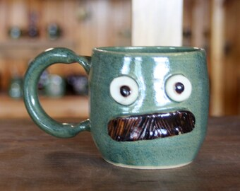 Mustache Mug. Pottery Ceramic Face Mug with Mustache. Frosty Pine Green. Fun Husband Man Gift. Uptight Witty Coffee Cup. Unique Gifts.