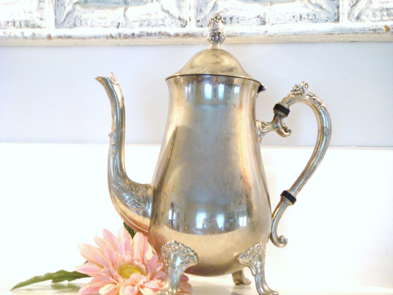 Silver coffee pot shabby chic pot wedding decor silver