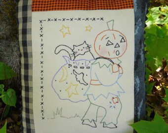 Letting cat outta bag embroidery Pattern PDF - halloween pumpkin man stitchery black cat vintage like primitive