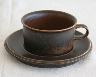 ARABIA RUSKA Tea / Coffee Cup + Saucer Set Finnish Design Ulla Precope Stoneware Finland Art Pottery Midcentury Modern Mid Century