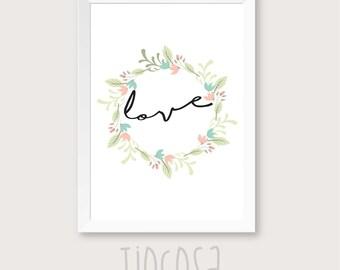 Love wall print, floral print decor, printable wall art, love wedding print, wedding wall art decor, wedding gift, wedding quote.