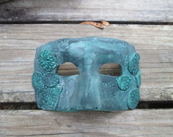 Jade green mask, ooak, handmade, Costume mask, Mardi Gras Mask, one of a kind, Masquerade ball, aged copper look