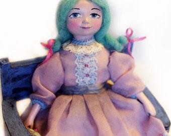 Art dolls - Handmade OOAK paperclay mini doll Malvina, miniature dolls, mixed media miniature, purple, Christmas gift idea