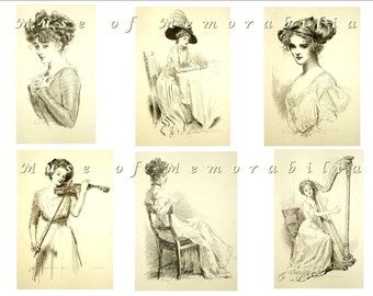 GIBSON GIRLS Digital Download Black and White Collage Sheet 1 - Violin, Harp, Music - Charles Dana Gibson