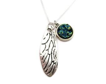 Cicada Wing Necklace, Faux Druzy Necklace, Fairy Wing Necklace, Insect Wing Necklace, Cicada Jewelry, Fairy Jewelry, Dragonfly Jewelry