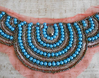 Blue and Silver Beaded Appliques