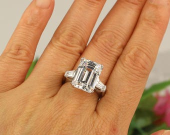 8 Carat Emerald Cut Ring, Huge Engagement Ring, 3 Stone Ring, 8 Carat promise ring, Emerald Cut Cubic Zirconia & sterling, Diamond Stimulant