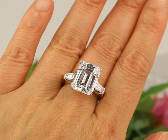 8 Carat Emerald Cut Ring Huge Engagement Ring 3 Stone Ring