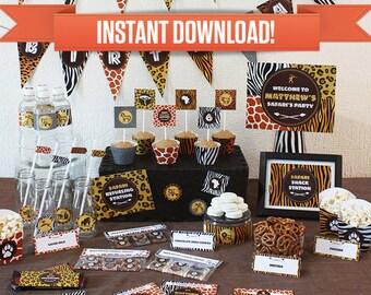 Safari Birthday Party Printable Collection & Invitation - Editable PDF file - Print at home