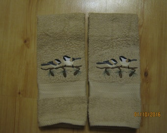 NEW 2 CHICKADEE Tan Hand Towels