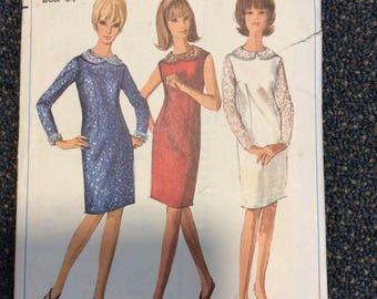 "1960s Mod Simplicity Sewing patterns Slimline sheath dress  Bust 34"" Waist 26"" unused factory folded"