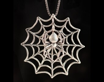 Spider Necklace Spiderweb Necklace - Interchangeable Web and Spider Pendant All Silver Version - Spider Jewelry Spiderweb Jewelry - Bugs